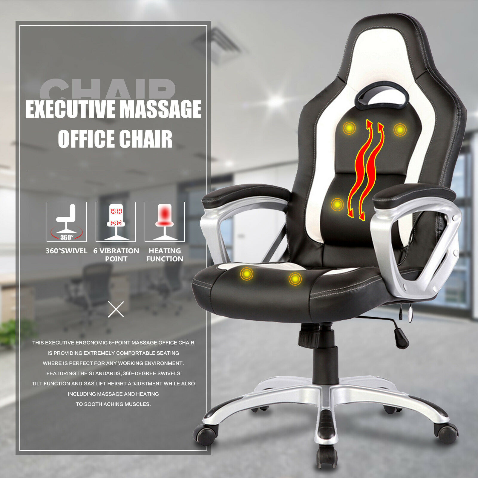 Awe Inspiring Mecor Massage Ergonomic Leather Chair Black White Creativecarmelina Interior Chair Design Creativecarmelinacom