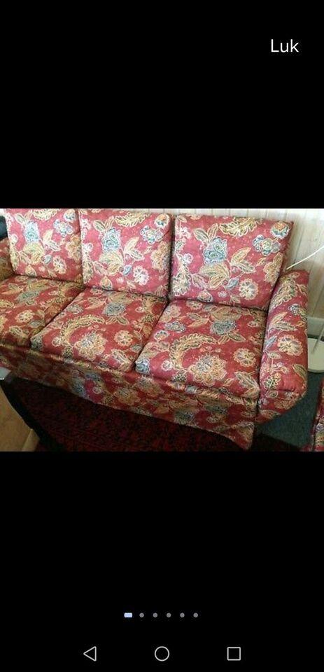 Sofagruppe, stof, 3 pers.
