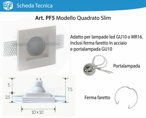 Porta Faretto in Gesso Ceramico da incasso 20 pezzi Molla e Portalampada PF5