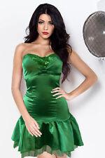 Robe Bustier Soirée Courte Satin Tulle Vert Paillette Sexy Glamour Fetes S 34 36