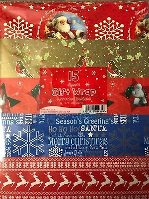 Christmas Gift Wrap Design.15 Traditional Cute Mix Christmas Gift Wrap Sheets Assorted Designs Wrapping Ebay