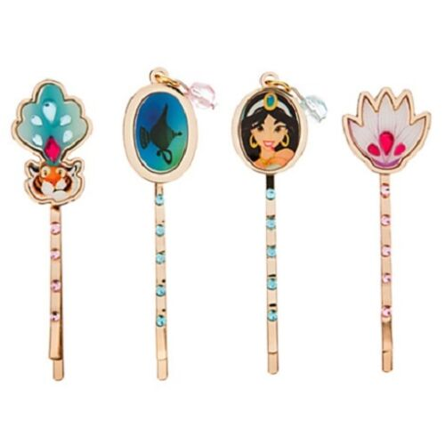 JASMINE+RAJAH~Aladdin~Jeweled~HAIR PIN SET~Cloisonne~NWT~Disney Store~STAMP~2015