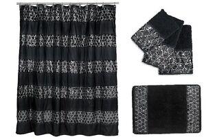 Popular Bath Sinatra Black Shower Curtain, Rug and 3 Piece Towel Set