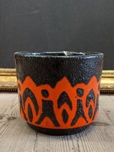 Beautifully-Decorated-Red-amp-Black-Mid-Century-West-German-Vase