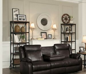 Surprising Details About Brown Leather Gel Match Reclining Sofa Drop Down Table Living Room Furniture Set Beatyapartments Chair Design Images Beatyapartmentscom