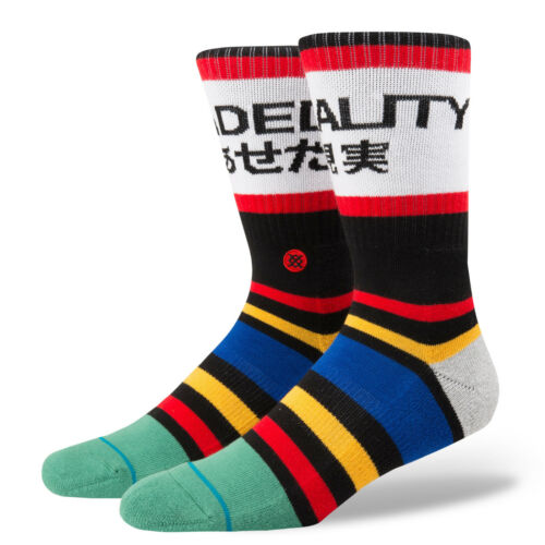 9-12 STANCE Fade Out Crew Socks sz L Large Black Red Yellow Blue Faded Reality