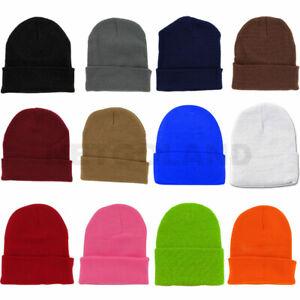 Solid Plain Beanie Hat Ski Cap Skull Knit Cuff Warm Slouchy Unisex Pick Colors*