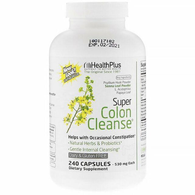 Health Plus Inc., Super Colon Cleanse, Digestive Health, 530 mg, 240 Capsules