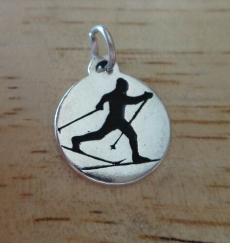 1 Sterling Silver 15mm Round says Cross Country on Skiing Ski Charm