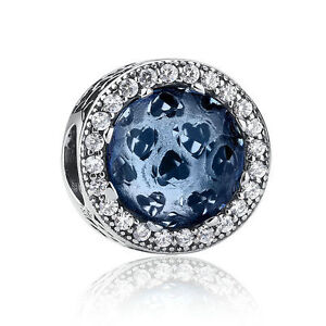 925-Sterling-Silver-Blue-Crystal-Charm-Radiant-Hearts-Moonlight-CZ-Bead-Pendant