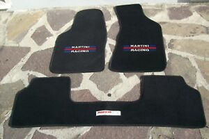 Set-Tappetini-neri-ricamo-Martini-racing-Lancia-Delta-16v-Evoluzione-tappeti-Evo