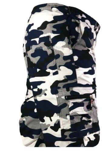 Ragazzi Elasticizzato Pantaloncini di lunghezza al ginocchio 3//4 Cargo Combat Multi Tasca Mimetico 4-14 anni