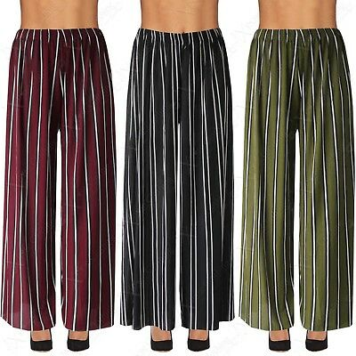 Ladies Striped Print Ribbed Palazzo Trousers Womens Long Flared Wide Leg Style