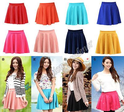 Womens Cotton Retro Stretch High Waist Plain Skater Flared Pleated Skirt Dress
