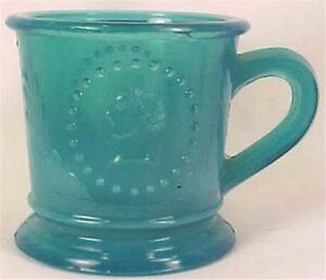 Antique-Ceres-Goddess-of-Liberty-Childs-Mug-Blue-Early-American-Pressed-Glass