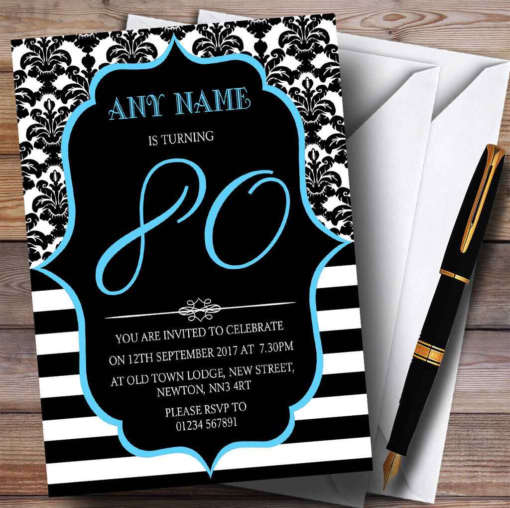 Vintage 80th Damask Blau Personalised Birthday Party Invitations 9d5903