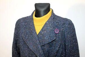 Vintage-70s-ELECTRE-Paris-Women-039-s-Blue-Long-Coat-Overcoat-Tweed-Wool-Size-M-L