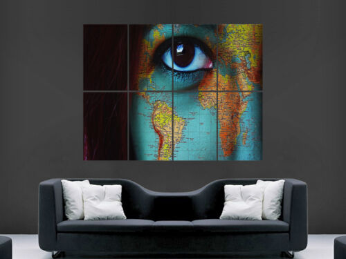 MAP OF THE WORLD POSTER ON GIRLS FACE WALL ART EYE  PICTURE PRINT LARGE HUGE