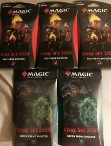 Magic-The-Gathering-NEW-CORE-SET-2020-2-GREEN-3-RED-Theme-Booster-SET-OF-5