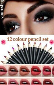 12 x  colours  BRANDED - Lip /Eye Liner Pencil Set with Vitamin E & Aloe Vera/UK