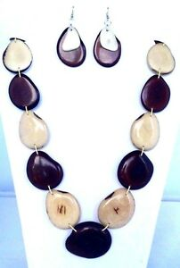 Tagua Nut Necklace Set, Eco Friendly Necklace and Earring Set TAG113NS