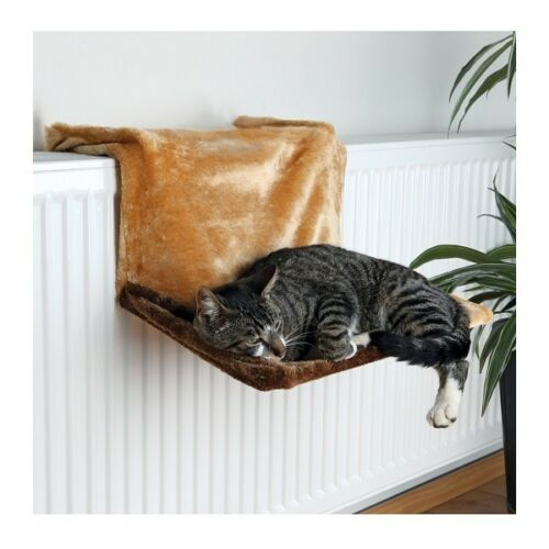 trixie de luxe radiator hammock plush cat bed light   dark brown 4322 trixie de luxe radiator hammock plush cat bed light   dark brown      rh   ebay co uk