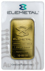 Elemetal Mint 1 Troy Oz .9999 Fine Gold Bar