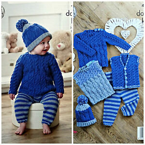 96dc98690db4 KNITTING PATTERN Baby Cable Tops Hat   Stripped Leggings DK King ...