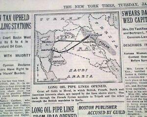 MOSUL-HAIFA-OIL-PIPELINE-King-Ghazi-of-Iraq-Kirkuk-to-Sea-OPENING-1935-Newspaper