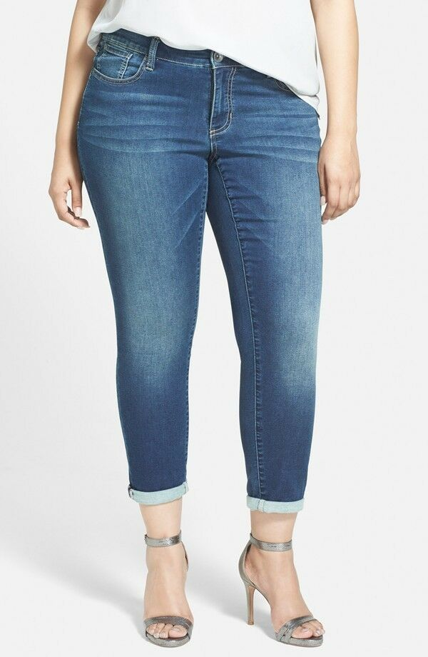 NWT SEVEN 7 sz 24 SKINNY EASY FIT LEGACY blueE JEANS PLUS SIZE