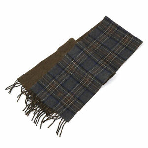 Polo-Ralph-Lauren-2-face-Lambswool-Scarf-made-in-Italy-Plaid-Grey-Brown