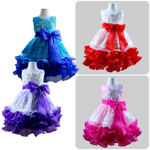 Flower Girl Kid Princess Bow Dress Wedding Bridesmaid Party Pageant Tutu Gown