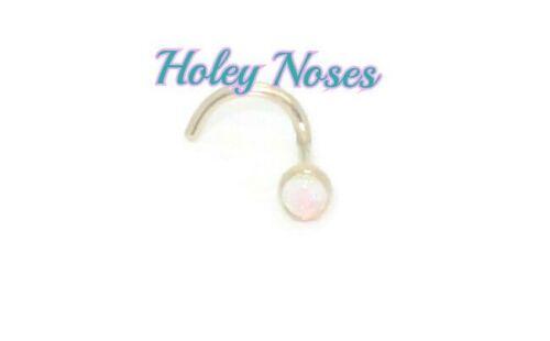 18ct yellow gold 2mm White Australian Opal  nose stud ring bone body jewellery
