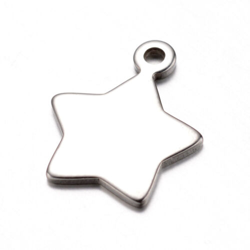 50pcs 304 Stainless Steel Charms Star Shape Blank Stamping Tags 16.5x13.5x1mm