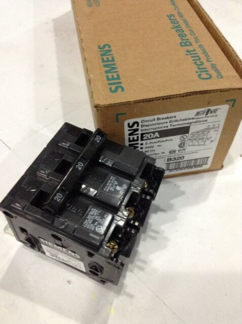 Siemens B320 3 Pole 20 Amp 120//240 Volt Circuit Breaker NEW