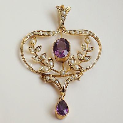 Charming Victorian Art Nouveau 9ct Gold Amethyst & Pearl set Pendant c1895