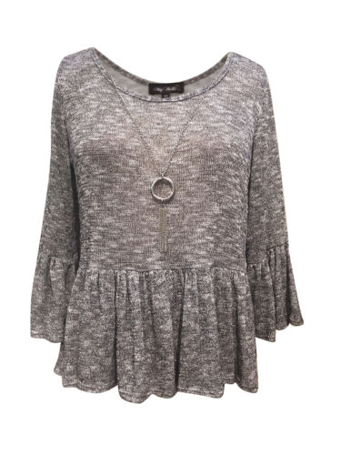 My Belle Juniors/' Baby-doll ruffle 3//4 sleeve Grey Lurex Sweater-knit necklace