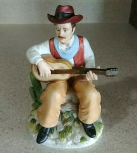 """Homco Seated Cowboy Playing Guitar Porcelain Figurine #1472  7""""  MINT"""