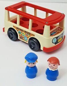 Push Toy Vintage Toy Retro Bus Mini Bus Little People Toy Fisher Price Fisher Price Mini Bus Red