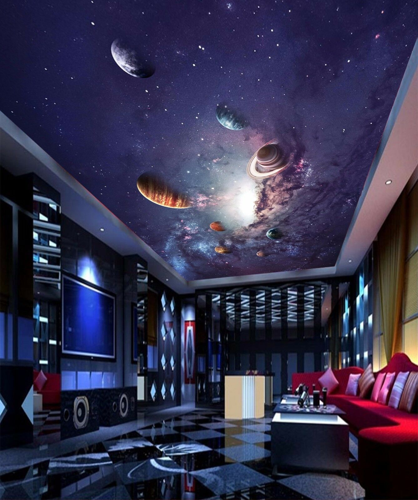 3D Universe Planet 7 Ceiling WallPaper Murals Wall Print Decal Deco AJ WALLPAPER