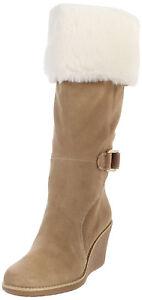 200-NEW-Elie-Tahari-Jenny-Tan-Suede-Tall-Wedge-Boots-sz-10-Knee-High-111556-M