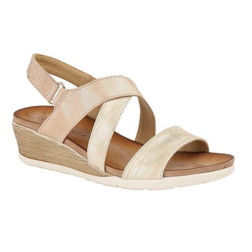 Cipriata Ladies L464BG Bina Champagne Cross Over Wedge Heel Summer Sandal