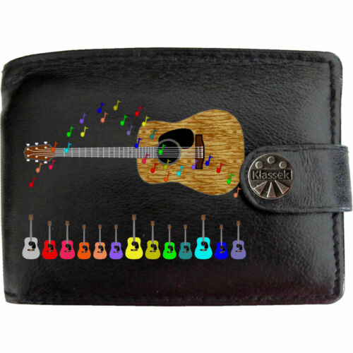 Acoustic Guitar Mens Black Leather Wallet Printed Music Image Musical Accessory