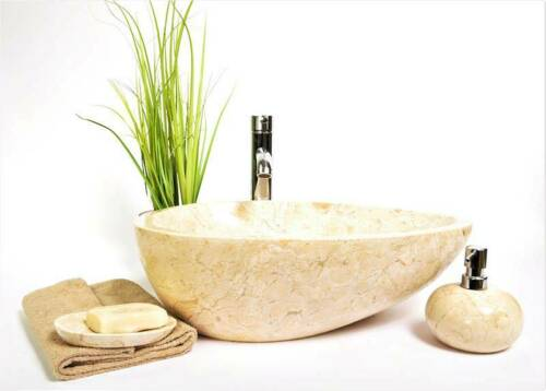 OVL-P CREAM 50x35 cm Natur Marmor Stein Waschbecken cremig Waschschale InduStone