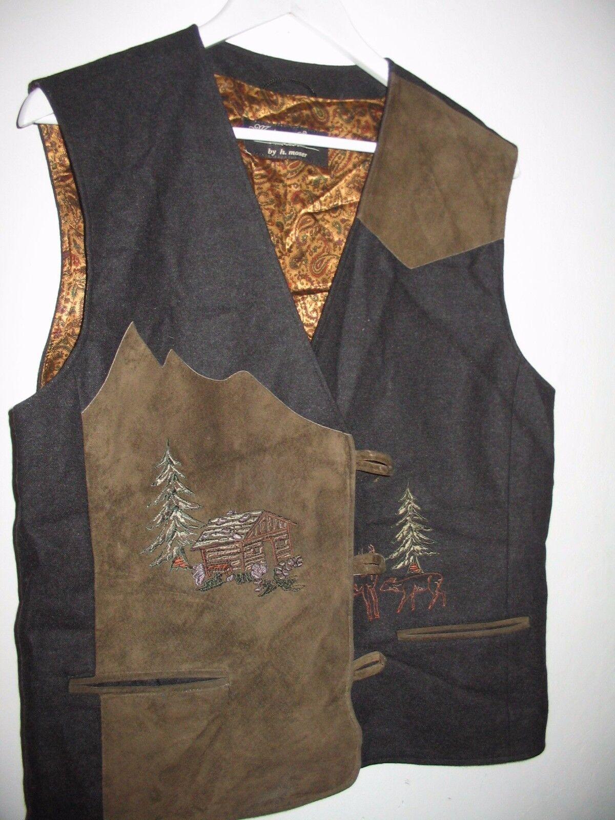 H. Moser Salzburg Austria Tirol women vest Oktoberfest Leather 40 Large Alpine