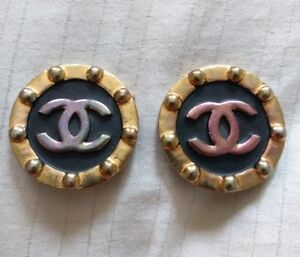 Image Is Loading Authentic Chanel Vintage Cc Logo Clip On Earrings