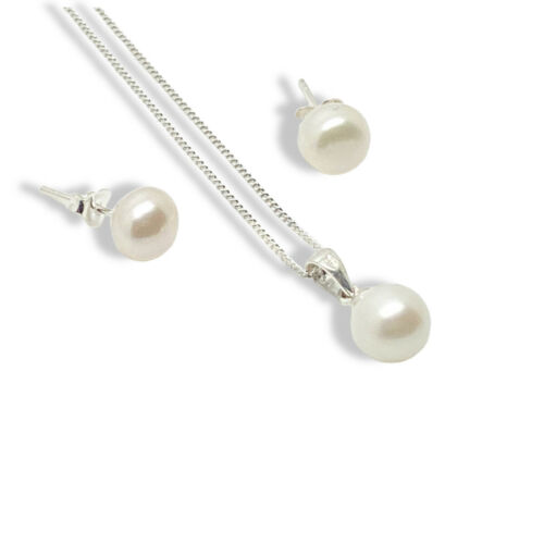 Details about  / White Gold Finish droplet pearl pendant necklace and earrings Women Jewellery