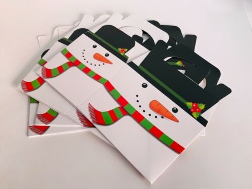 4 x CHRISTMAS Cake FOOD Treat Sweets Gift LOOT Boxes Festive SNOWMAN DESIGN