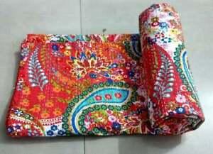 Indien-Handmade-Baby-Quilt-Throw-Reversible-Blanket-Bedspread-Cotton-Fabric