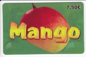 FRANCE-TELECARTE-PHONECARD-PREPAYEE-7-50-MANGO-FRUIT-MANGUE-12-11-N